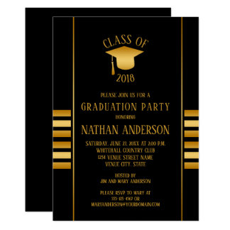 Bronze and Gold Gradient on Black Graduation Party Card