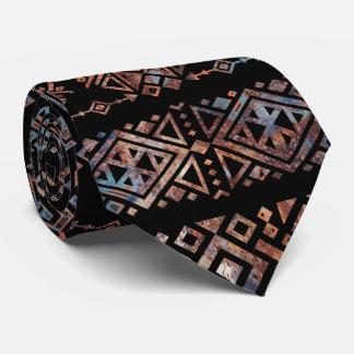 Bronze and Rust Vintage  Aztec Peruvian Tribal Pat Tie