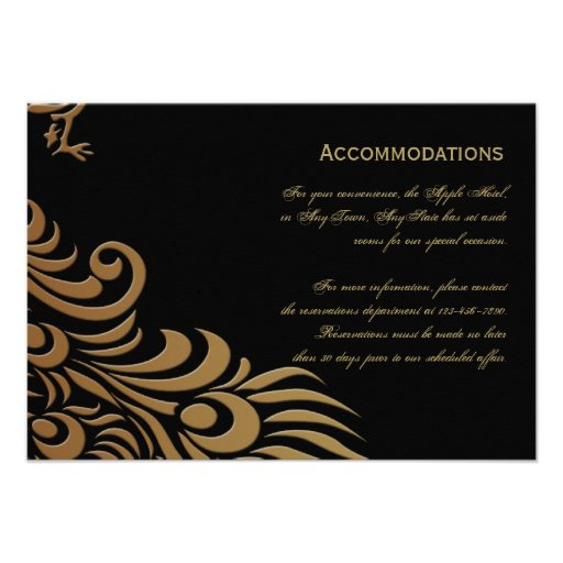 Bronze Art Deco Peacock and Floral Accomodations Personalized Invites