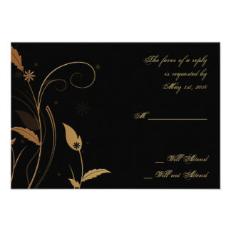 Bronze Art Deco Peacock and Floral Response Card Personalized Announcement