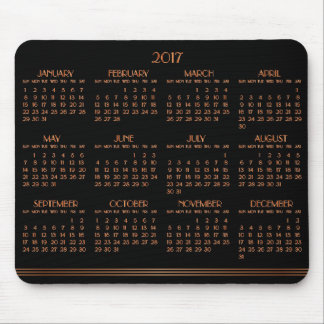 Bronze Black Art Deco Calendar 2017 Mouse Pad