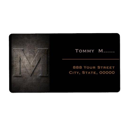 Bronze Black Metal Monogram M Address Label