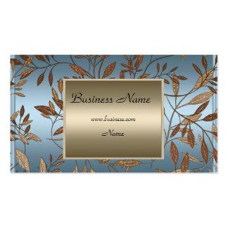 Bronze Blue Brown Floral Elegant Business Card