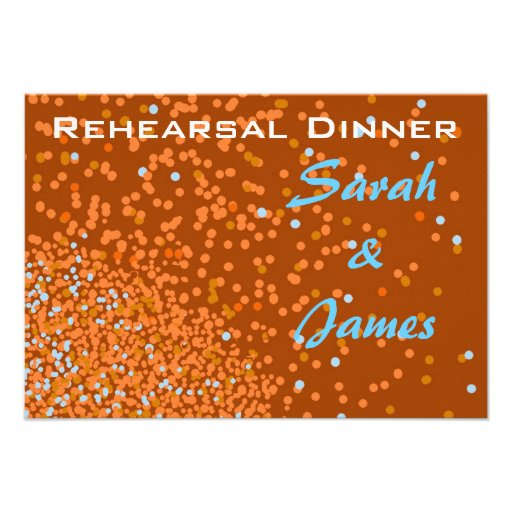 Bronze blue confetti rehearsal dinner invite