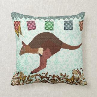 Bronze & Blush Wallaby Blue Misty Day Mojo Pillow Cushion