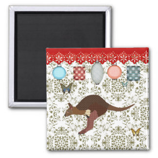 Bronze & Blush Wallaby Olive Damask  Magnet