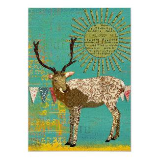 "Bronze Buck Baby Shower Teal Sunshine Invitation 5"" X 7"" Invitation Card"