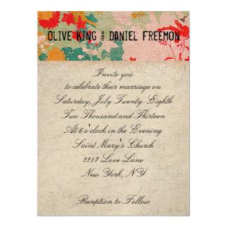 Bronze Buck Ivory & Floral Ornate Wedding Invitati 17 Cm X 22 Cm Invitation Card