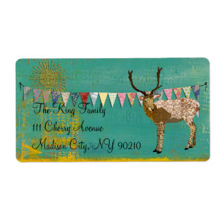 Bronze Buck Sunshine Teal  Label Shipping Label