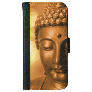Bronze Buddha Statue with Golden Bokeh Background iPhone 6 Wallet Case