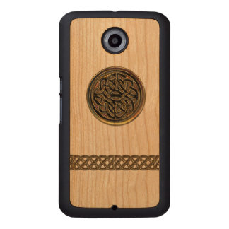 Bronze Celtic Knot Wood Carved Google Nexus 6 Slim Wood Phone Case
