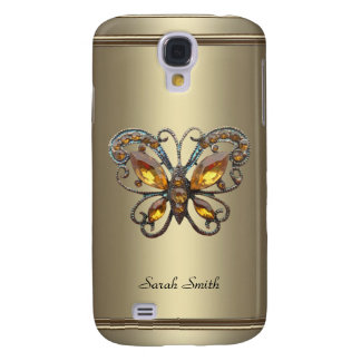 Bronze Chrome Pern Butterfly jewel Galaxy S4 Covers