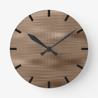 Bronze Coffee Minimal Metallic Grill Stripes Black Round Clock