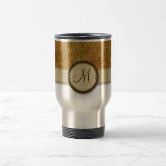 Bronze Coin Pattern with Monogram Travel Mug