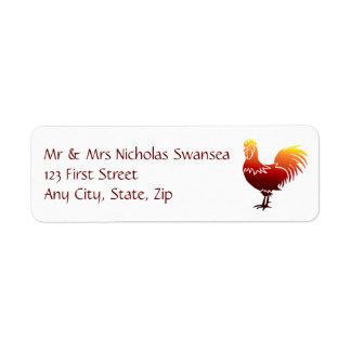 Bronze Copper Rooster Chicken Custom Address Label