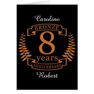 Bronze eighth wedding anniversary 8 years card