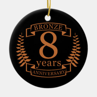 Bronze eighth wedding anniversary 8 years ceramic ornament