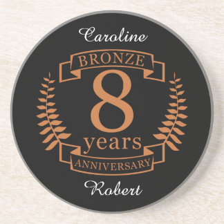 Bronze eighth wedding anniversary 8 years coaster
