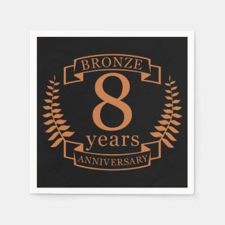 Bronze eighth wedding anniversary 8 years paper napkin