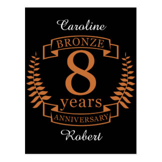 Bronze eighth wedding anniversary 8 years postcard