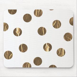 Bronze Faux Shine Polka Dots Modern Trendy Chic Mouse Pad