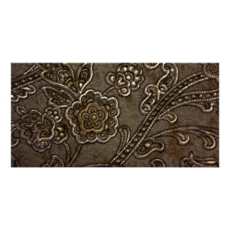 Bronze Floral Relief Photo Card