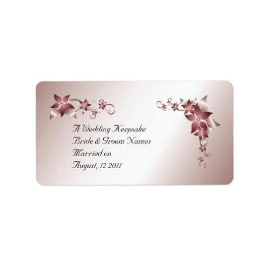 Bronze Floral  Wedding Favour Lip Balm Tube Label
