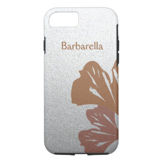 Bronze Ginkgo Leaves on Silver Effect Pattern iPhone 7 Case