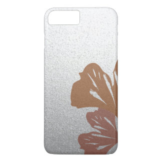 Bronze Ginkgo Leaves on Silver Effect Pattern iPhone 7 Plus Case