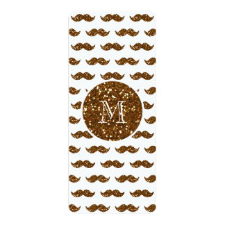"Bronze Glitter Mustache Pattern Your Monogram 4"" X 9.25"" Invitation Card"