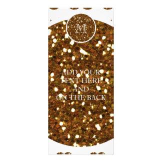 Bronze Glitter Mustache Pattern Your Monogram Rack Card