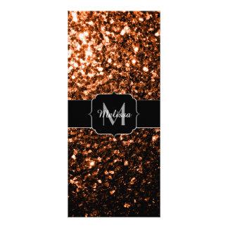 Bronze glitter sparkles Monogram Personalised Rack Card