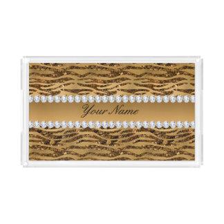 Bronze Gold Faux Foil Zebra Stripes Acrylic Tray