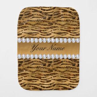 Bronze Gold Faux Foil Zebra Stripes Baby Burp Cloths