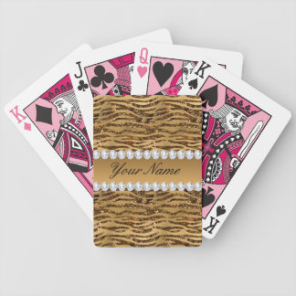 Bronze Gold Faux Foil Zebra Stripes Bicycle Playing Cards