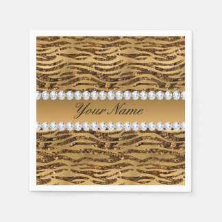 Bronze Gold Faux Foil Zebra Stripes Disposable Serviette