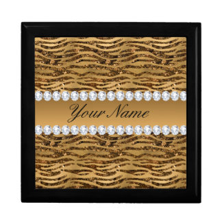 Bronze Gold Faux Foil Zebra Stripes Gift Box