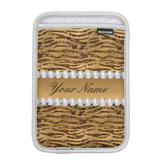 Bronze Gold Faux Foil Zebra Stripes iPad Mini Sleeve