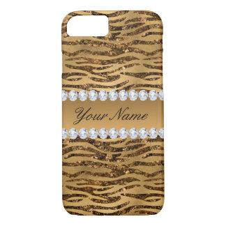 Bronze Gold Faux Foil Zebra Stripes iPhone 8/7 Case