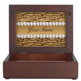 Bronze Gold Faux Foil Zebra Stripes Keepsake Box