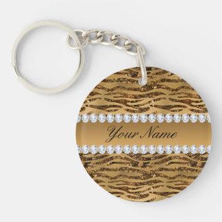 Bronze Gold Faux Foil Zebra Stripes Key Ring