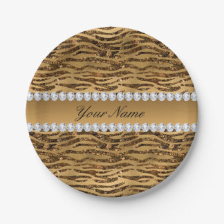 Bronze Gold Faux Foil Zebra Stripes Paper Plate