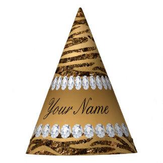 Bronze Gold Faux Foil Zebra Stripes Party Hat