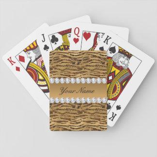Bronze Gold Faux Foil Zebra Stripes Playing Cards