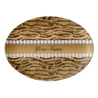 Bronze Gold Faux Foil Zebra Stripes Porcelain Serving Platter