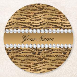 Bronze Gold Faux Foil Zebra Stripes Round Paper Coaster