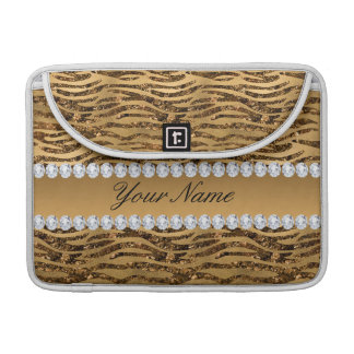 Bronze Gold Faux Foil Zebra Stripes Sleeve For MacBook Pro