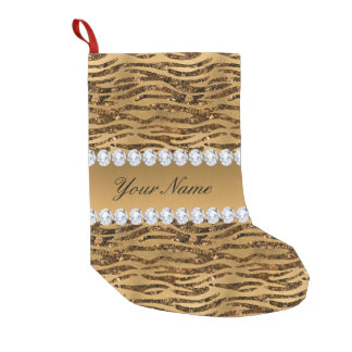 Bronze Gold Faux Foil Zebra Stripes Small Christmas Stocking