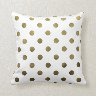 Bronze Gold Leaf Metallic Foil Large Polka Dot Throw Cushion