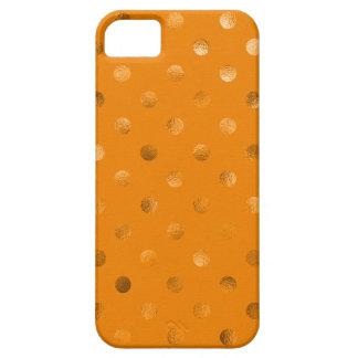 Bronze Gold Metallic Faux Foil Polka Dot Orange Case For The iPhone 5